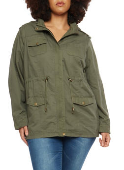 Plus Size Hooded Anorak Jacket - 1886051066748