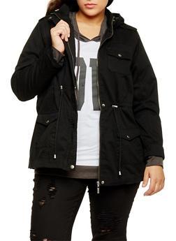 Plus Size Drawstring Waist Twill Hooded Anorak Jacket - 1886051067110