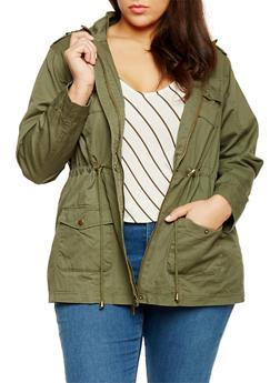Plus Size Drawstring Waist Twill Hooded Anorak Jacket - OLIVE - 1886051067110