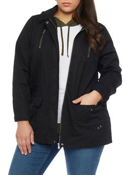 Plus Size Zip Up Hooded Anorak Jacket - 1886051067496