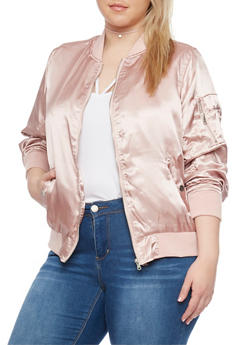 Plus Size Satin Bomber Jacket with Rib Knit Trim - 1886051067530