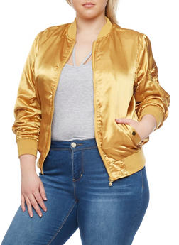 Plus Size Satin Bomber Jacket with Rib Knit Trim - GOLD - 1886051067530