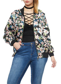 Plus Size Floral Bomber Jacket - 1886051067534