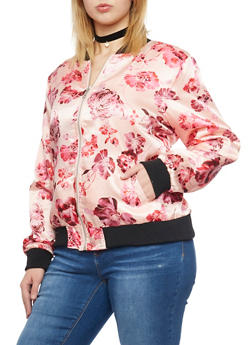 Plus Size Floral Bomber Jacket - PINK - 1886051067534