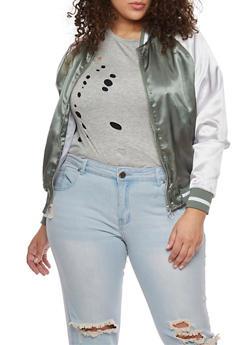 Plus Size Satin Zip Up Varsity Jacket - 1886051067552