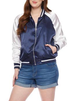 Plus Size Satin Zip Up Varsity Jacket - NAVY/WHITE - 1886051067552