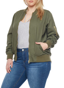 Plus Size Solid Bomber Jacket - 1886051067576