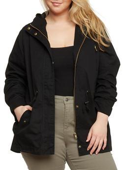 Plus Size Hooded Twill Anorak Jacket - 1886054264000