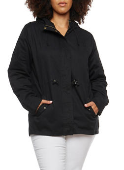 Plus Size Twill Hooded Anorak Jacket - 1886054264010