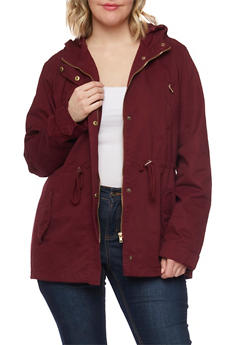 Plus Size Hooded Anorak Jacket with Drawstring - 1886054264333