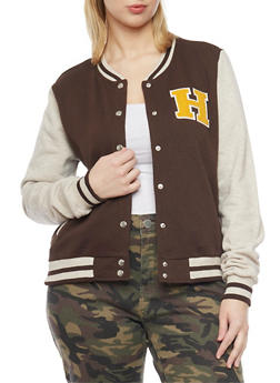 Plus Size Baseball Jacket with Snap Front and Rib Knit Trim - 1886054265100