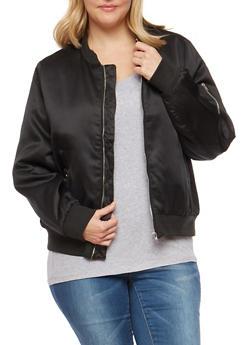 Plus Size Zip Sleeve Bomber Jacket - 1886054268873
