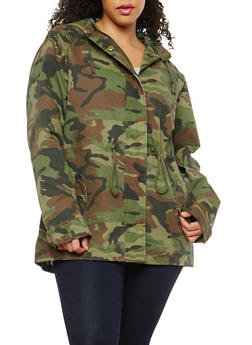 Plus Size Camo Hooded Anorak Jacket - 1886054268880