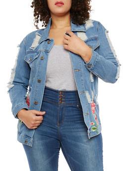 Plus Size Distressed Floral Embroidered Denim Jacket - 1886074282364