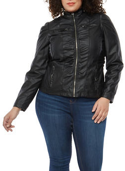 Plus Size Ruched Faux Leather Moto Jacket - 1887051060494
