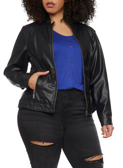 Plus Size Faux Leather Moto Jacket with Ruched Sides - 1887051060700