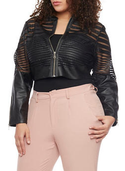 Plus Size Cropped Mesh Shadow Striped Jacket - 1887051062120