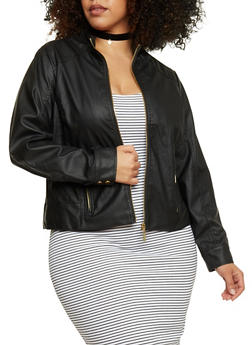 Plus Size Faux Leather Quilted Moto Jacket - 1887051062361