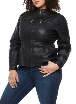 Plus Size Smocked Side Faux Leather Jacket - 1887051062600