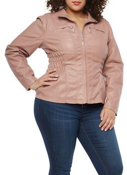 Plus Size Smocked Side Faux Leather Jacket - 1887051062600