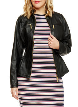 Plus Size Ruched Faux Leather Moto Jacket - 1887051062926