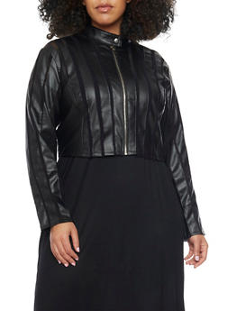 Plus Size Faux Leather Mesh Striped Moto Jacket - 1887051064526