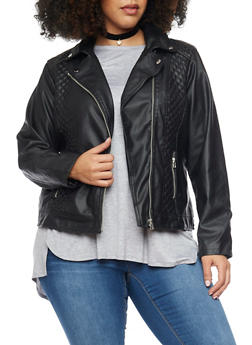 Plus Size Faux Leather Moto Jacket with Quilted Accent - 1887051065052