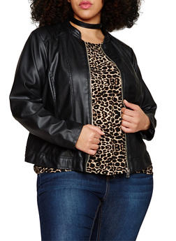 Plus Size Faux Leather Quilted Moto Jacket - 1887051065087