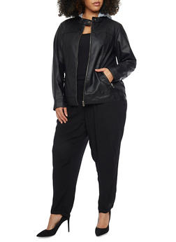 Plus Size Fleece Hooded Faux Leather Moto Jacket - 1887051065200