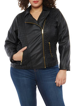 Plus Size Ruched Front Faux Leather Moto Jacket - 1887051065265