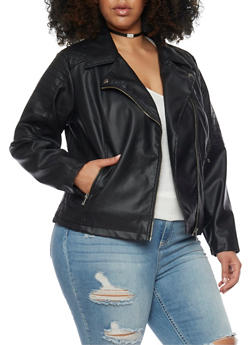 Plus Size Faux Leather Quilted Moto Jacket - 1887051065277
