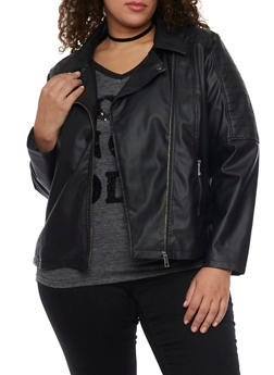 Plus Size Faux Leather Asymmetrical Zip Moto Jacket - 1887051065327