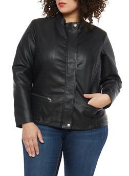Plus Size Stitch Side Faux Leather Jacket - 1887051065352