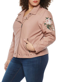 Plus Size Embroidered Sleeve Faux Leather Jacket - 1887051065915