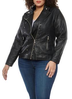 Plus Size Studded Faux Leather Moto Jacket - 1887051066332