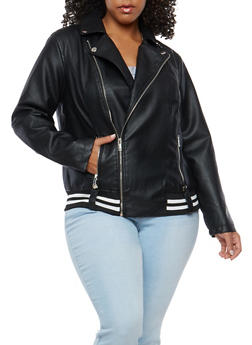 Plus Size Faux Leather Ribbed Knit Trim Moto Jacket - 1887051066424