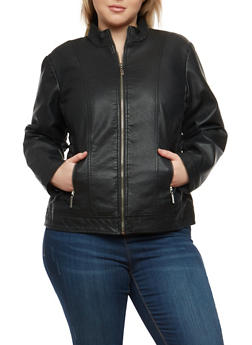 Plus Size Ruched Side Faux Leather Jacket - 1887051067207
