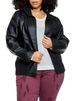 Plus Size Knit Trimmed Faux Leather Jacket - 1887051067402