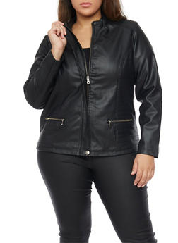 Plus Size Faux Leather Moto Jacket - 1887051067535