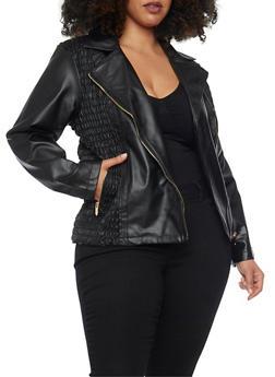 Plus Size Faux Leather Moto Jacket with Smocked Panels - 1887051067563