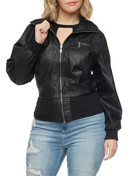 Plus Size Faux Leather Moto Jacket with Rib Knit Trim - 1887051069030