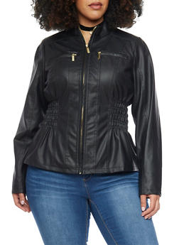 Plus Size Faux Leather Jacket with Ruched Sides - 1887051069260