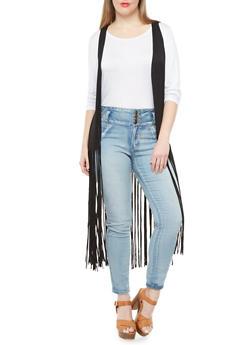 Plus Size Open Front Vest With Long Fringe,BLACK,medium