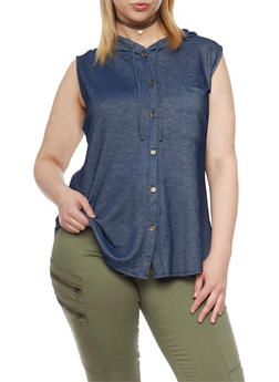 Plus Size Button Up Sleeveless Denim Knit Hooded Top - 1910001441613