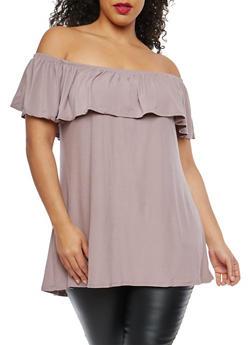 Plus Size Soft Knit Off the Shoulder Top - 1910001441630