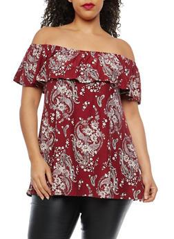 Plus Size Soft Knit Floral Off the Shoulder Top - 1910001446304
