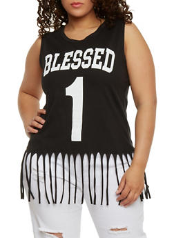 Plus Size Sleeveless Blessed 1 Graphic Top with Fringe Trim - 1910033871375