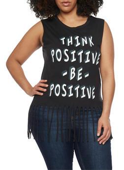 Plus Size Think Positive Graphic Fringe Top - BLACK - 1910033872018
