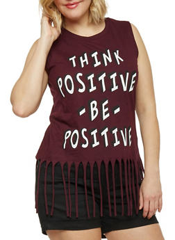 Plus Size Think Positive Graphic Fringe Top - 1910033872018