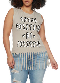 Plus Size Think Positive Graphic Fringe Top - 1910033872018